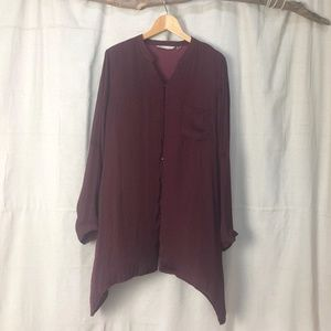Soft Surroundings Burgundy Button Front Tunic Top